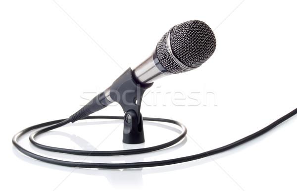 Microfone voz cabo isolado branco Foto stock © brulove
