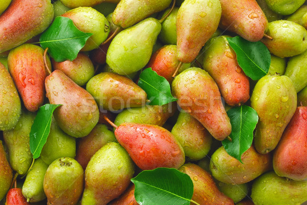 Background of ripe juicy organic farm pears Stock photo © brulove