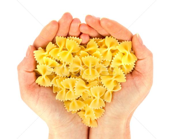 Macarrão mão ver coração isolado branco Foto stock © brulove
