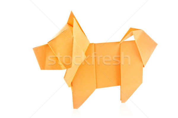 Orange chien origami isolé blanche fond Photo stock © brulove