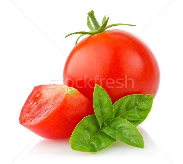 ripe tomato with branch basil Stock photo © brulove