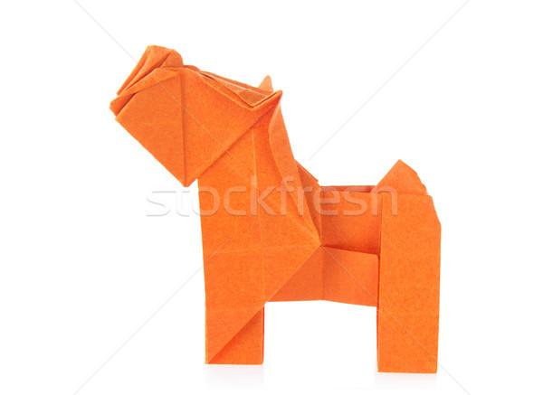 Arancione cane origami isolato bianco sfondo Foto d'archivio © brulove