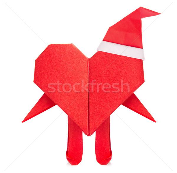 Rood hart origami armen benen cap Stockfoto © brulove