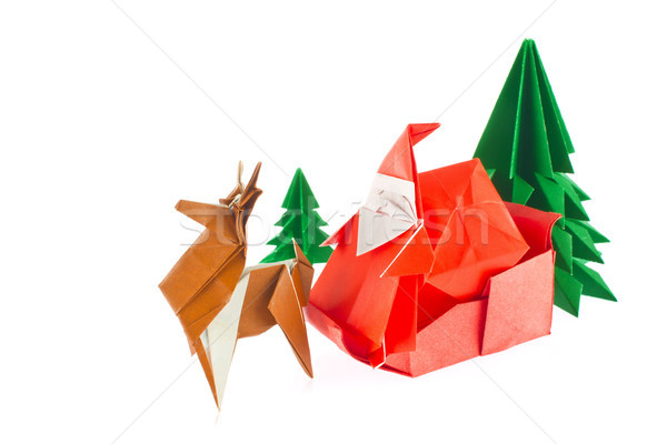 Christmas composition of origami Stock photo © brulove