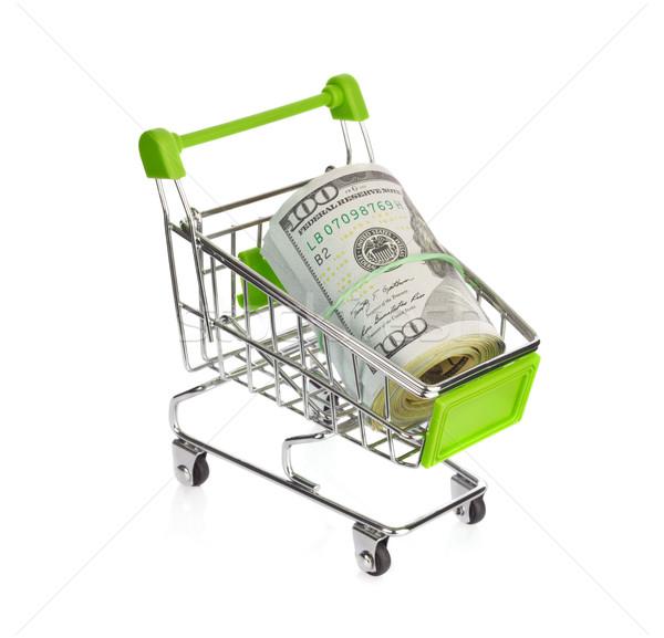 Winkelwagen dollar geïsoleerd witte oog achtergrond Stockfoto © brulove