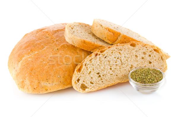 Home brood kruiden geïsoleerd witte voedsel Stockfoto © brulove