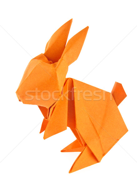 Orange lapin de Pâques origami isolé blanche fond Photo stock © brulove