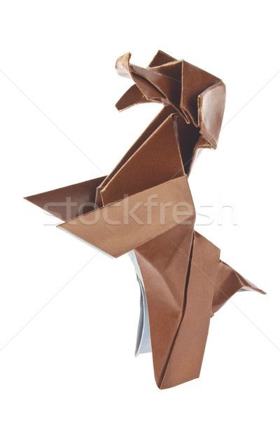 Brown dog poodle of origami Stock photo © brulove