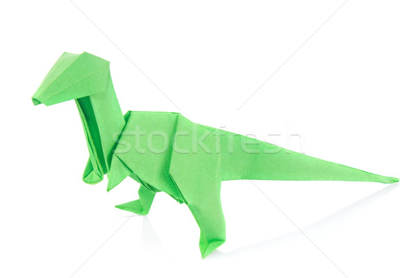 зеленый динозавр оригами изолированный белый фон Сток-фото © brulove