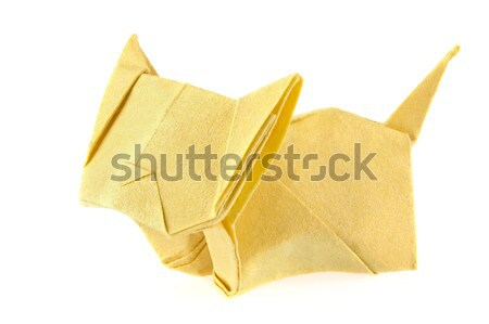 Yellow cat of origami. Stock photo © brulove