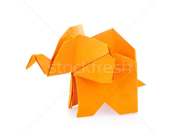 Orange éléphant origami isolé blanche papier Photo stock © brulove