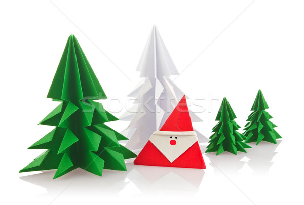 Noël origami isolé blanche papier heureux Photo stock © brulove