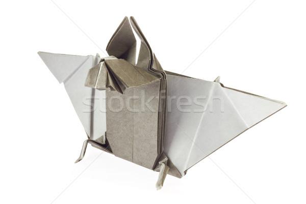 Grijs bat origami geïsoleerd witte kunst Stockfoto © brulove