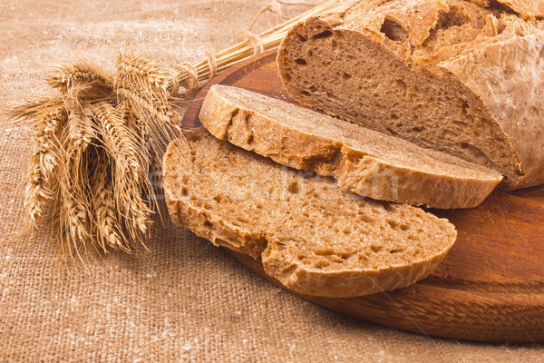 Fresh aromatic organic rye farm craft bread Stock photo © brulove