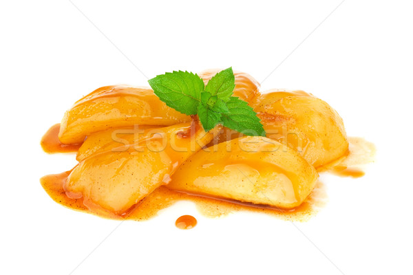 Caramelized pear in cognac sauce with leaf mint Stock photo © brulove