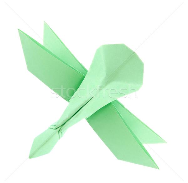 Groene libel origami geïsoleerd witte achtergrond Stockfoto © brulove