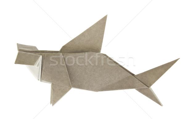 Gri köpekbalığı origami yalıtılmış beyaz kâğıt Stok fotoğraf © brulove