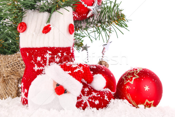 christmas composition with red sock and decoration Stock photo © brulove