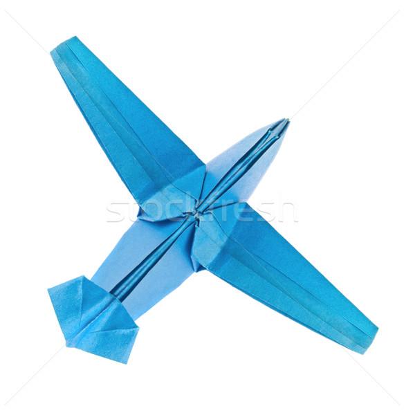 Blauw vliegtuig origami geïsoleerd witte papier Stockfoto © brulove