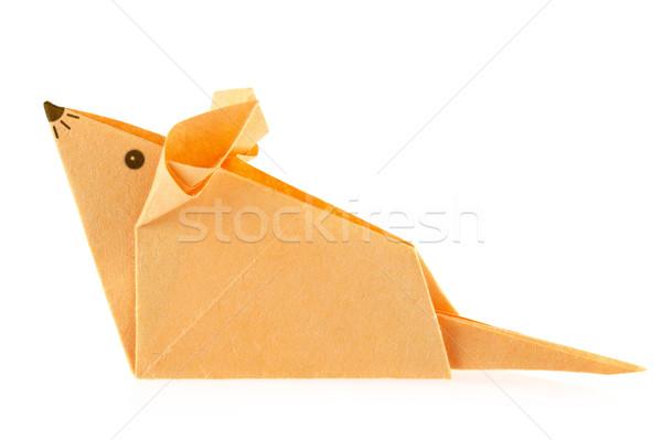 оранжевый мыши оригами изолированный белый бумаги Сток-фото © brulove