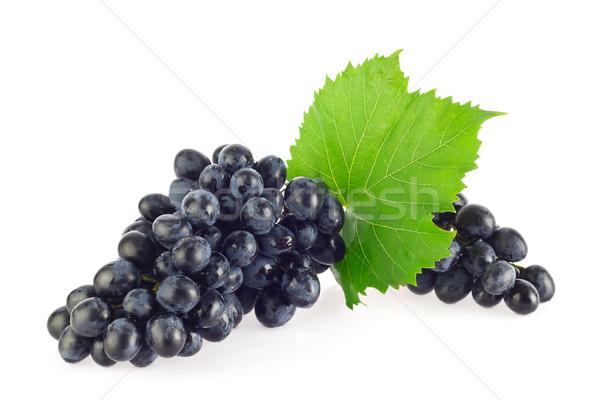 Bleu organique raisins feuille verte isolé Photo stock © brulove
