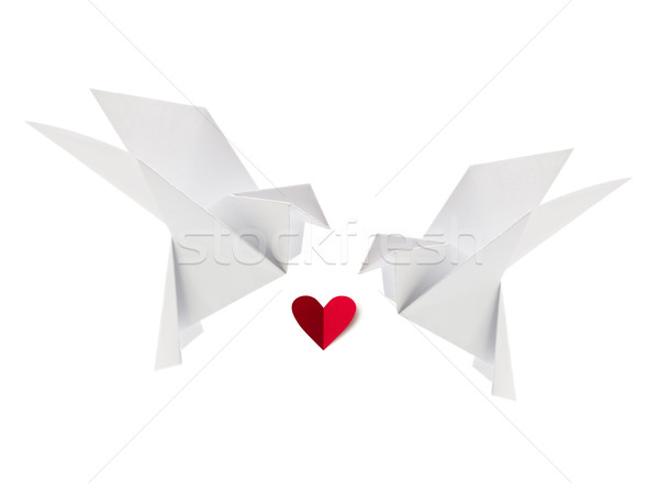 Couple white loving dove of origami with red heart Stock photo © brulove