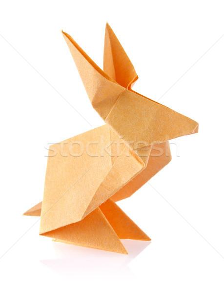 оранжевый Пасхальный заяц оригами изолированный белый бумаги Сток-фото © brulove