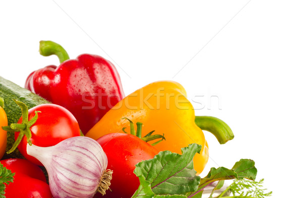 Fresh juicy organic vegetables and greens Stock photo © brulove