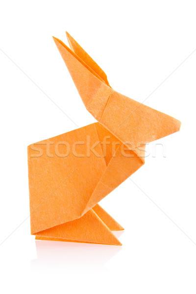 Arancione coniglio pasquale origami isolato bianco carta Foto d'archivio © brulove