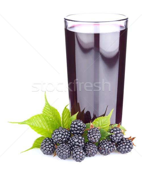 Rijp BlackBerry groene bladeren vers sap glas Stockfoto © brulove