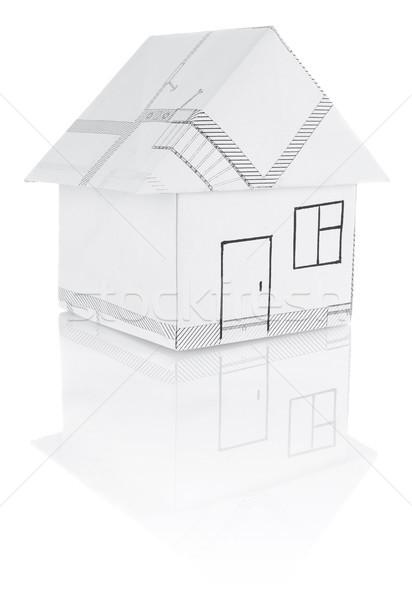 Ház origami izolált fehér papír épület Stock fotó © brulove