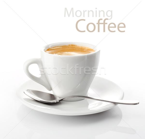 Csésze reggel kávé csészealj acél fehér Stock fotó © brulove