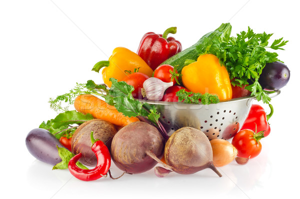 Still-life of fresh organic vegetables greens and spices. Stock photo © brulove