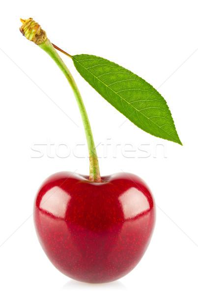 Fraîches juteuse cerise feuille verte isolé blanche Photo stock © brulove