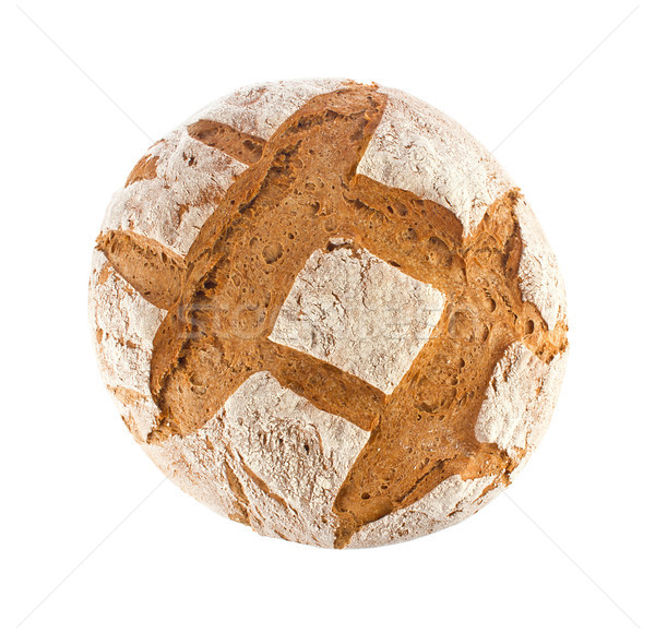 Freshly baked domestic rye bread with bran, top view Stock photo © brulove