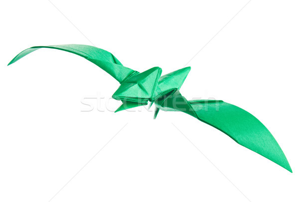 Green pterodactyl of origami Stock photo © brulove