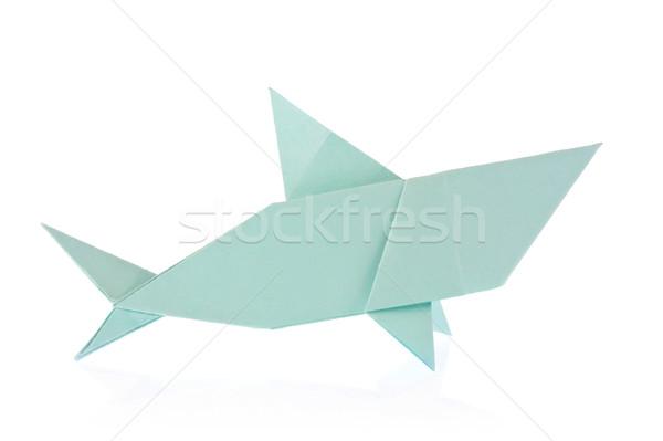 акула оригами изолированный белый бумаги морем Сток-фото © brulove