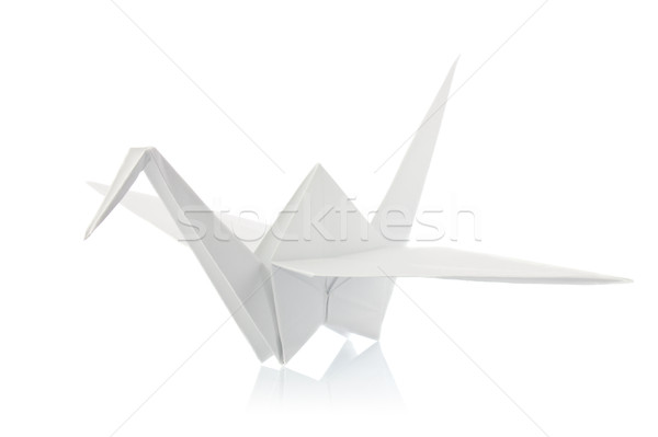 Beyaz origami yalıtılmış arka plan kuş barış Stok fotoğraf © brulove