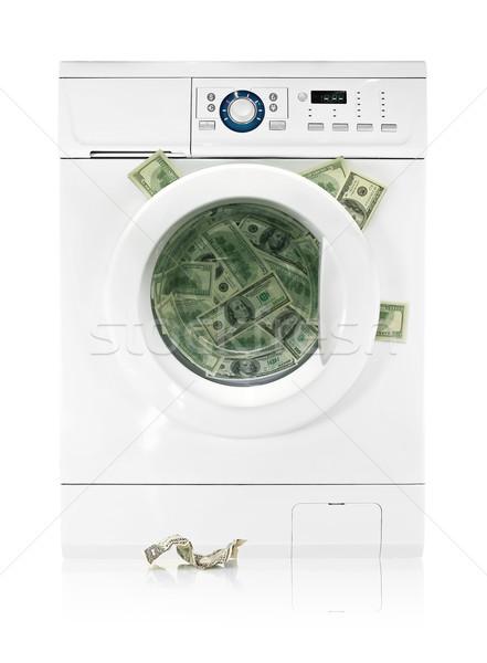 Stock fotó: Pénz · mosógép · izolált · fehér · üzlet · zöld