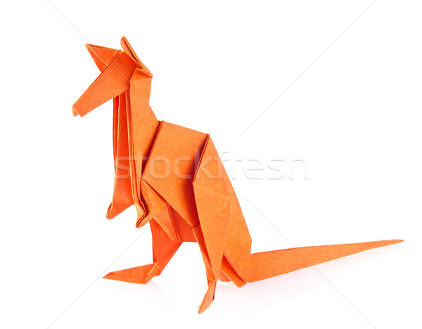 Orange kangaroo of origami. Stock photo © brulove