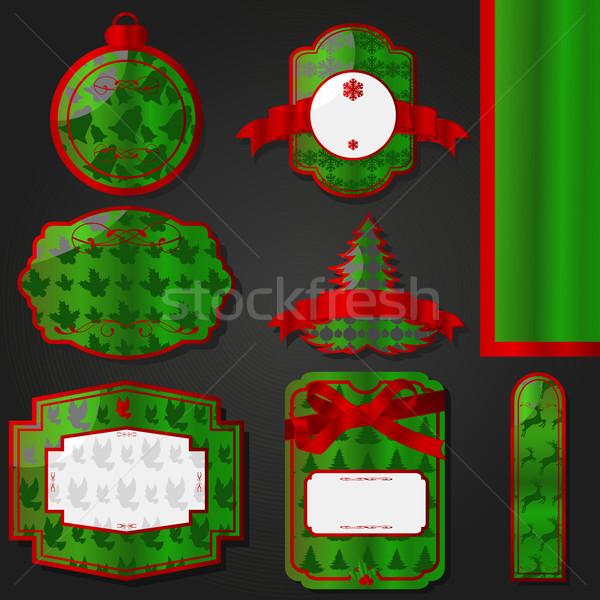 Stock fotó: Piros · zöld · klasszikus · karácsony · címkék · szett