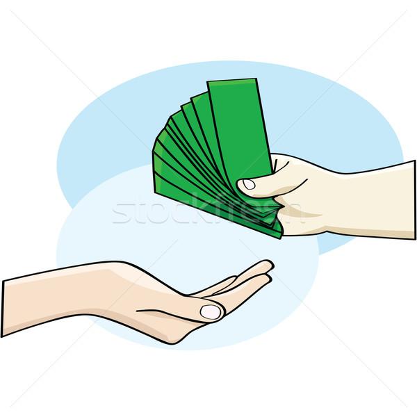 Fizetés rajz illusztráció mutat kéz pénz Stock fotó © bruno1998