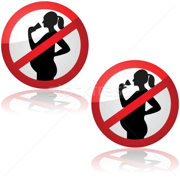 Geen dranken zwangere vrouwen teken tonen Stockfoto © bruno1998