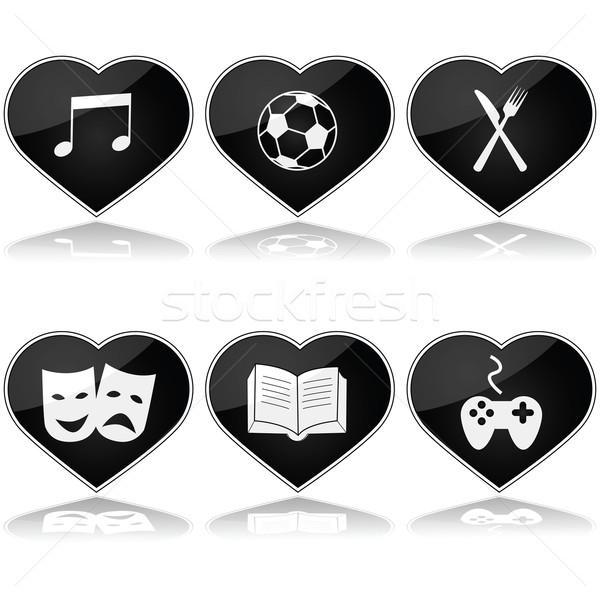 Foto stock: Aficiones · establecer · ilustración · corazones · diferente