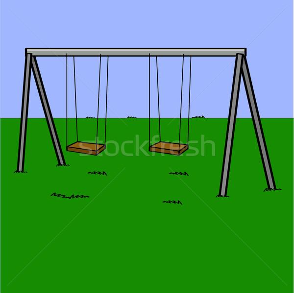 Aire de jeux cartoon illustration abandonné Swing Photo stock © bruno1998