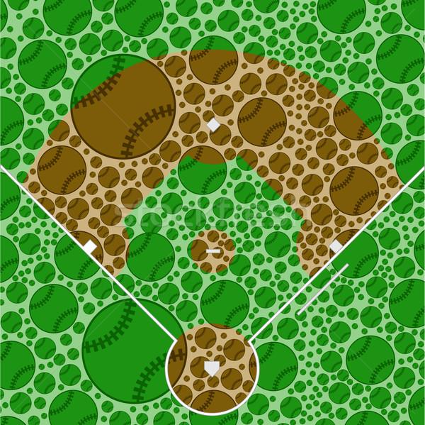 Baseball pálya illusztráció mutat felfelé sport nyár Stock fotó © bruno1998