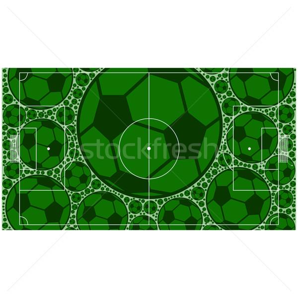 Futballpálya illusztráció mutat felfelé futball golyók Stock fotó © bruno1998