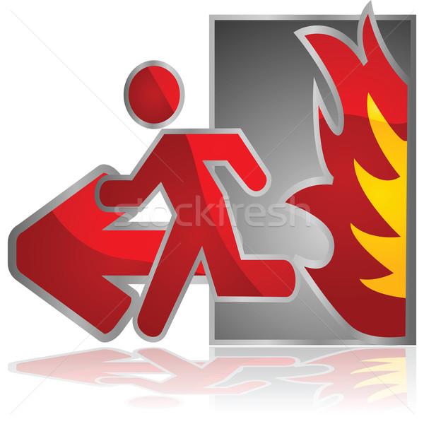 Feuer verlassen glänzend Illustration exit sign Mann Stock foto © bruno1998