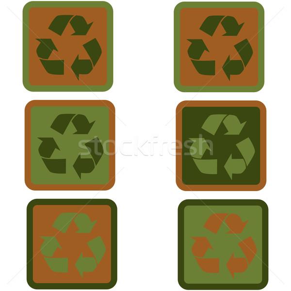 újrahasznosítás felirat terv ikon gyűjtemény mutat különböző Stock fotó © bruno1998