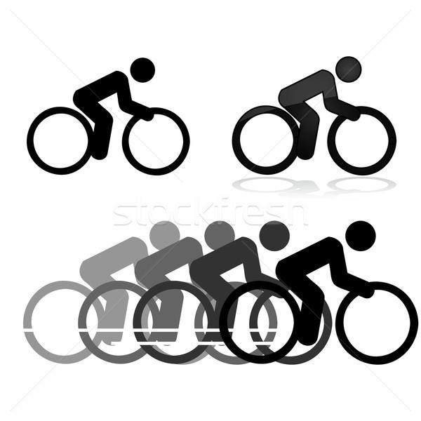 Biciklizik ikonok különböző stílusok mutat férfi Stock fotó © bruno1998